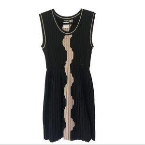 Chanel Eclectic Vintage Geometric Wool Dress Black